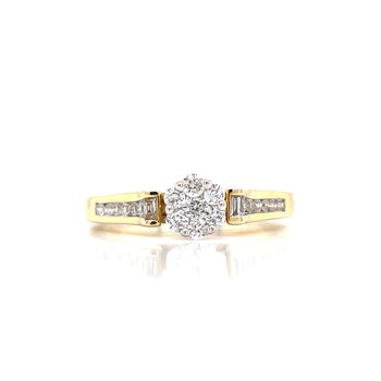 Sophisticated Diamond Cluster Engagement Ring