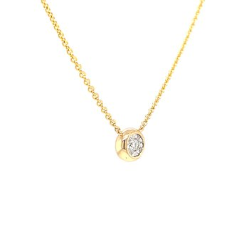 Bezel Style Diamond Pendant in yellow gold
