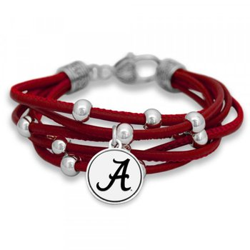 "Red Multi Strand Bracelet with ""A"""