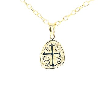 Constantine Collection Cross Shield Pendant in 14ky