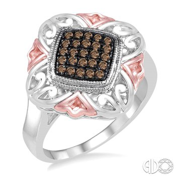 Silver and Champagne Diamond Ring