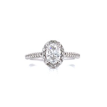 Oval Halo Engagement Ring-lab grown