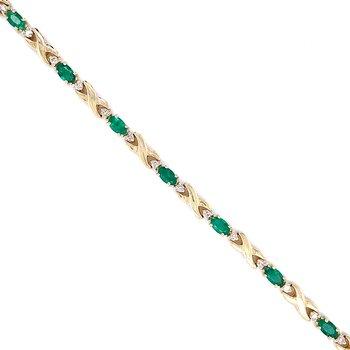 Emerald & Diamond Line Bracelet