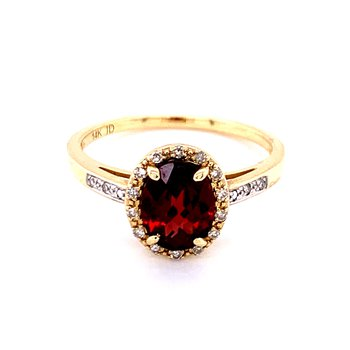Checkerboard Faceted Garnet Ring