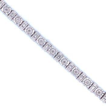 Sterling Silver & Diamond Tennis Bracelet