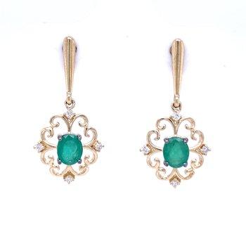 Embellished Emerald Dangle Earrings