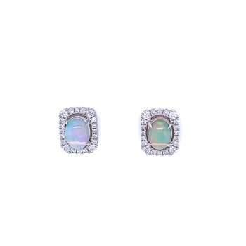 Oval Opal & Diamond Studs