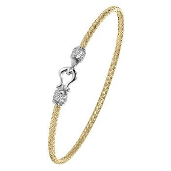 Sterling Silver 2mm Mesh Bangle with CZ, 2 Tone, 18K Yellow Gold and Rhodium Finish