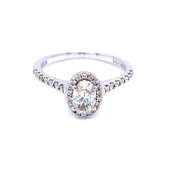 Oval Diamond Engagement with Halo