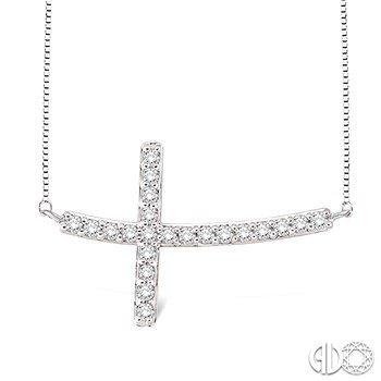 East to West Diamond Cross Pendant