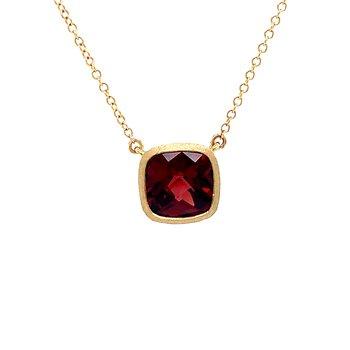 Bezel Set Cushion Garnet Necklace