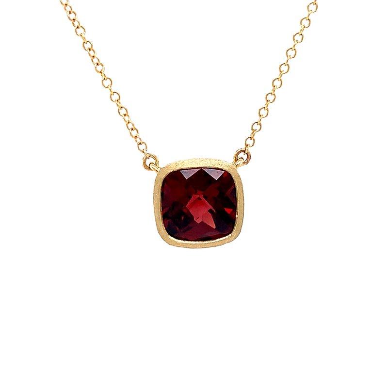 Bryan Beauties Bezel Set Cushion Garnet Necklace