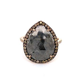 Salt & Pepper Pear Shaped Rose Cut Diamond Ring