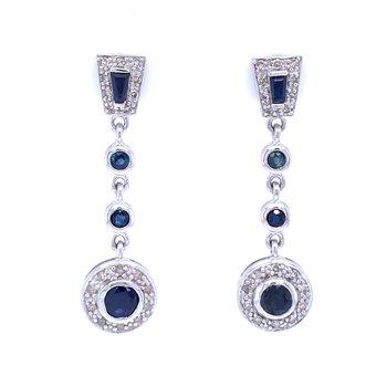 Stunning Sapphire & Diamond Dangles