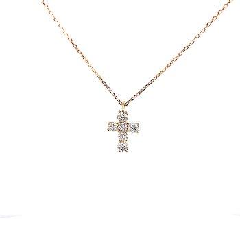 Petite Diamond Cross Pendant-18ky