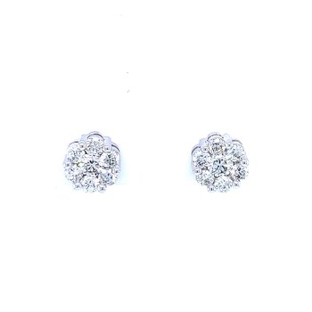 Flower Cluster  Earrings 1ctw 10kw