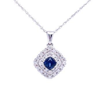 Cozy Cushion Sapphire & Diamond Pendant