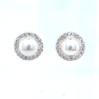 Sterling Silver Freshwater Pearl Earrings with CZ Halo