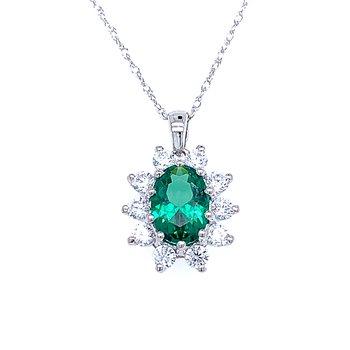Simulated Emerald & Diamond Pendant