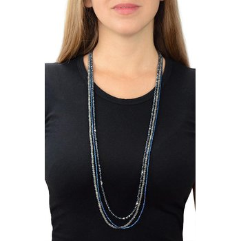 Multi Strand Necklace with Spinel, Labradorite and Blue Hematite Beads