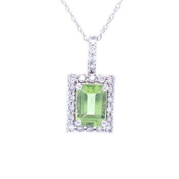 Elegant Emerald Cut Peridot Pendant