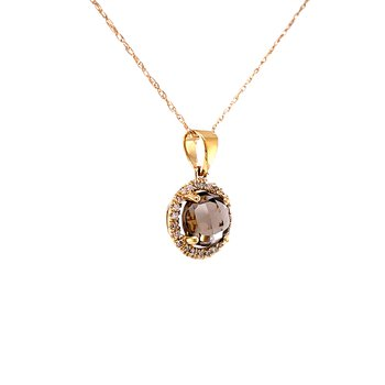 Smoky Quartz Halo Diamond Pendant in 14ky