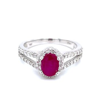 Ruby & Diamond Halo with Split Shank