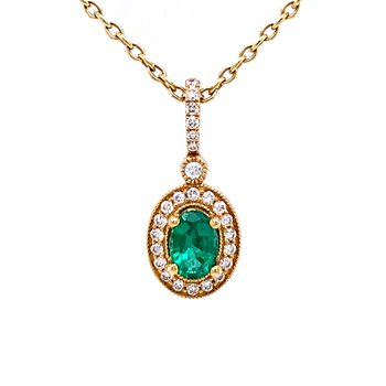 Oval Emerald & Diamond Pendant in 14ky