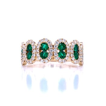 Vision of Vivid Green Emerald and Diamond Band