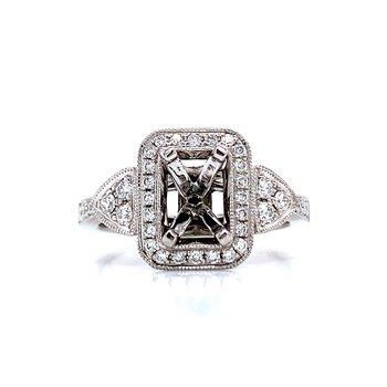 Rectangular Halo Diamond Semi-mount