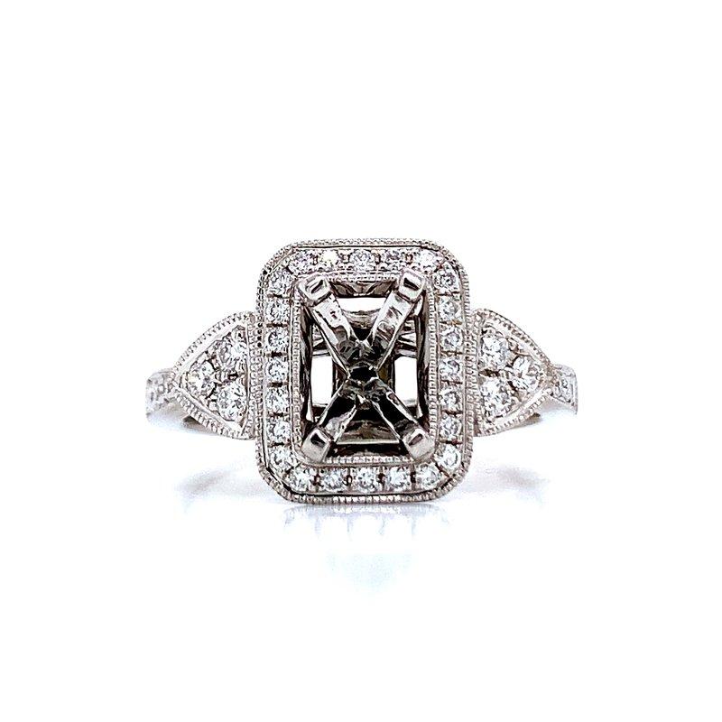 Ostbye Rectangular Halo Diamond Semi-mount