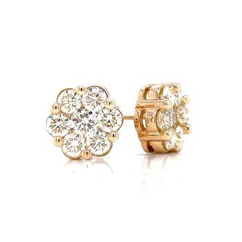 Flower Cluster Earrings 2ctw 10ky