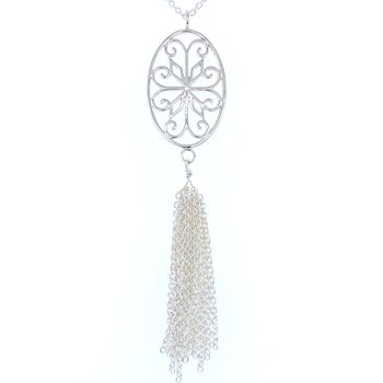 Southern Gates - Courtyard Oval Scroll Tassel Necklace