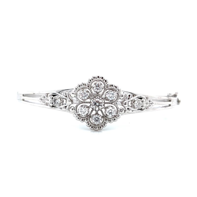 Bryan Beauties Vintage Style Diamond Bangle - White Gold