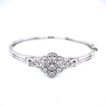 Vintage Style Diamond Bangle - White Gold