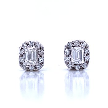 Emerald Cut Halo Earrings 1/2ctw