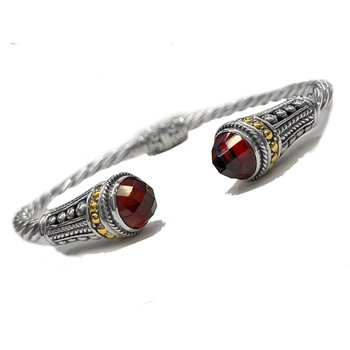 Silver & 18ky Bracelt with Garnet Caps