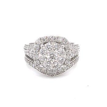 Cushion Shaped Diamond Halo Wedding Set-1 3/4ctw