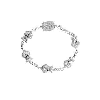 Pave CZ Crowned Heart Motif Bracelet