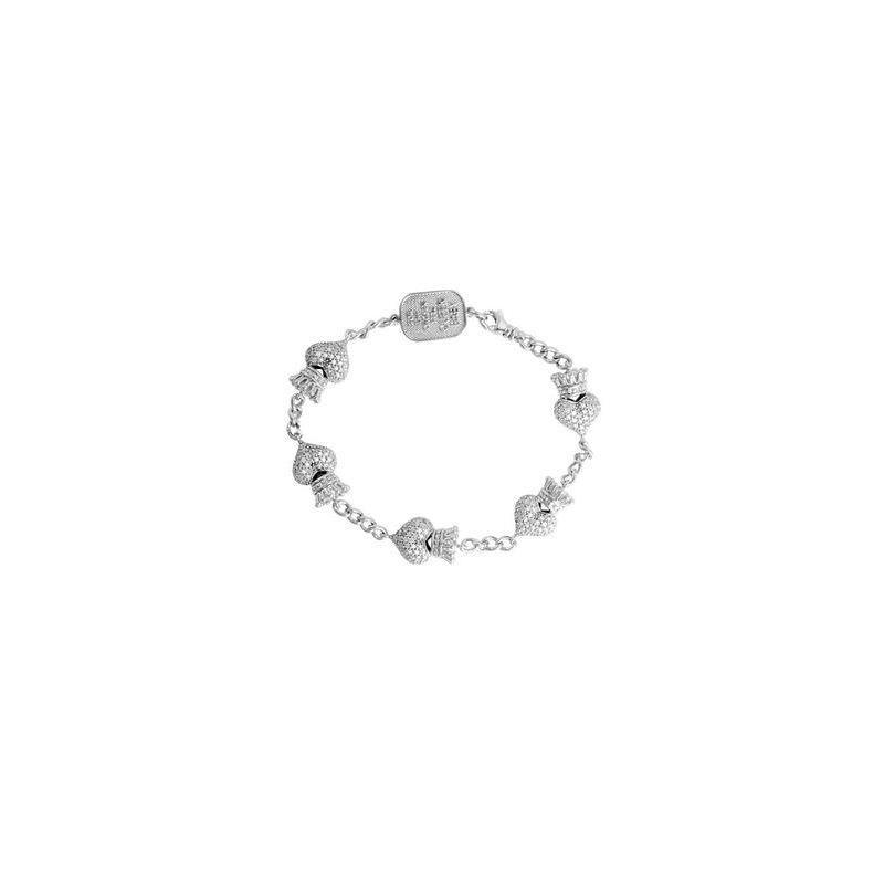 King Baby Pave CZ Crowned Heart Motif Bracelet