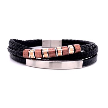 Triple Strand Leather Bracelet with Two Tone Beads
