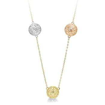 Tri-color Trio  Station to Station Necklace
