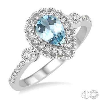Vintage Style Aquamarine Ring with Diamond Accents