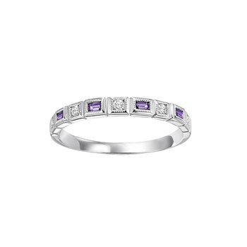 Mixables Baguette Amethyst and Diamond Band.