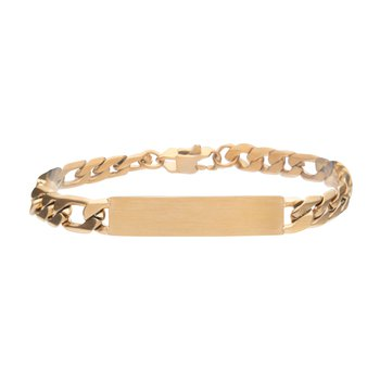 18K Gold IP Engravable Double ID Plate with Curb Chain Bracelet