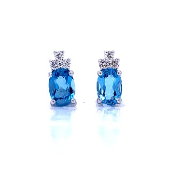 Oval Blue Topaz Studs with Diamond Accents