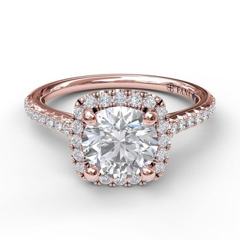 Delicate Cushion Halo Engagement With Pave Shank-14k rose