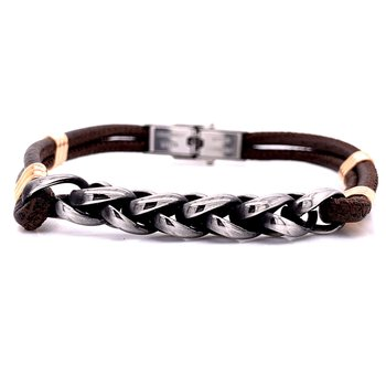 Brown Leather Two Cord Bracelet with Stainless Wheat Chain