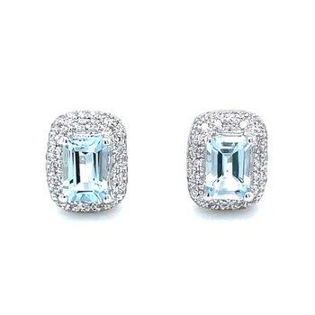 Aquamarine Emerald Cut Halo Earrings
