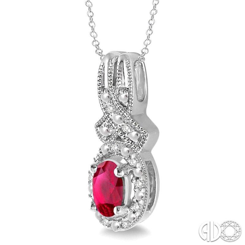 Bryan Beauties Ruby and Diamond Halo Pendant